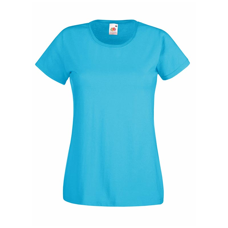 165gsm 100% Cotton, Belcoro® Yarn Lady-Fit Valueweight Crew Neck T Short Sleeve -STVL-azure-blue