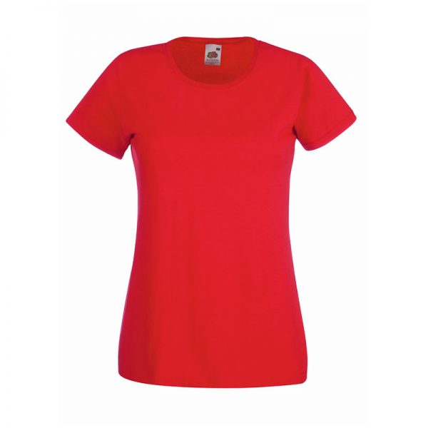 165gsm 100% Cotton, Belcoro® Yarn Lady-Fit Valueweight Crew Neck T Short Sleeve -STVL-red