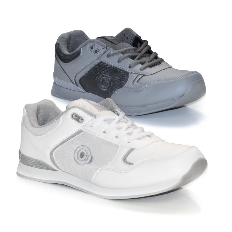 PFOA836 - 'JACK' Lace Up Trainer-Style Bowling Shoe - White and Grey
