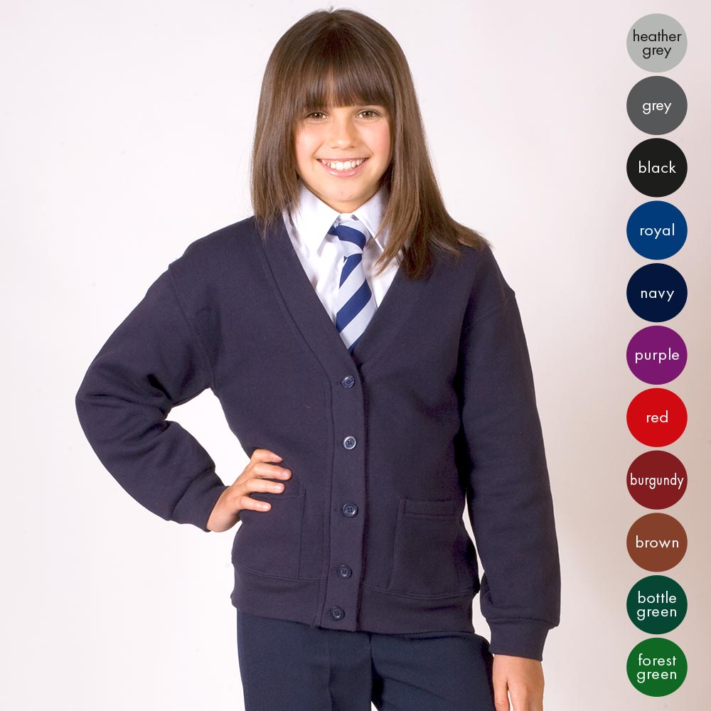 Girls Premium-Weight Sweat Cardigan TCK01-navy