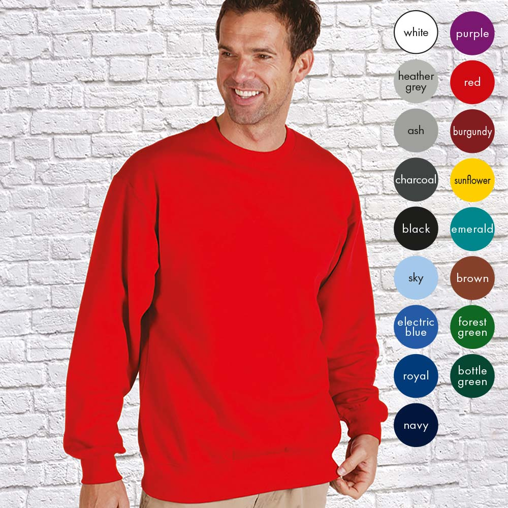 0% Supercarded Ringspun Cotton / 30% Polyester Mens Extra Premium Set-In Crew Sweat Long Sleeve TSA01