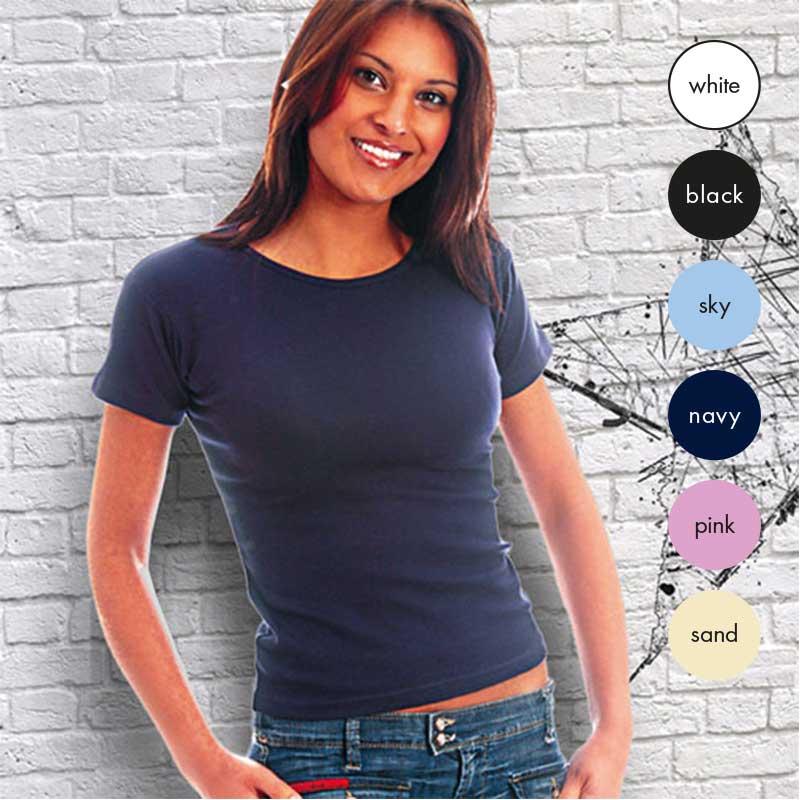 95% Cotton / 5% Elastane Ladies Fitted Crew T Short Sleeve - TTL01