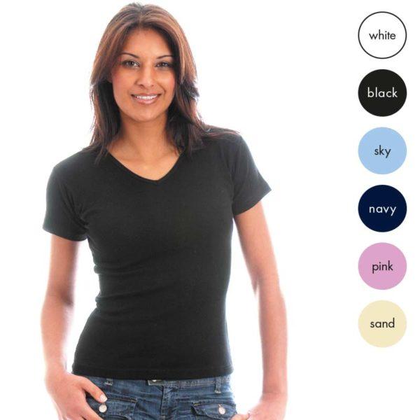 95% Supercarded Ringspun Cotton / 5% Elastane Ladies Fitted V-neck T-Shirt Short Sleeve TTL02