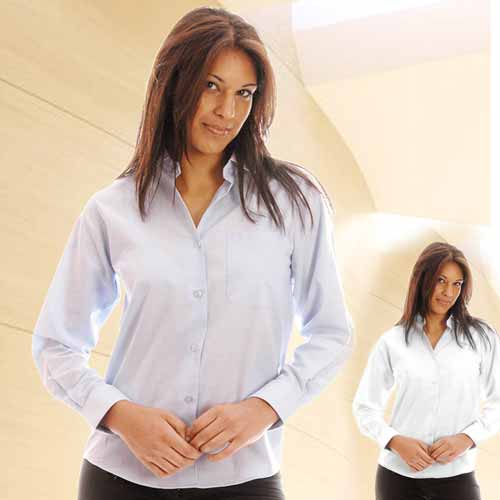135gsm Ladies Oxford Blouse Long Sleeve - WBLL07