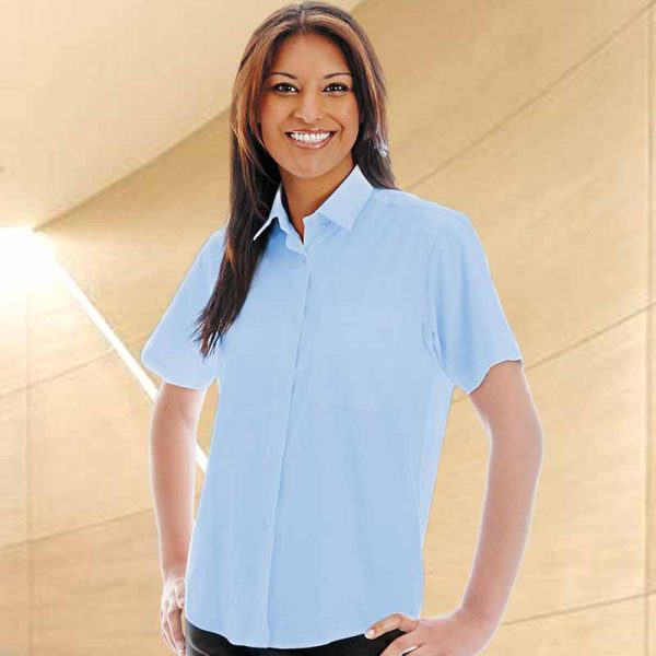 135gsm Ladies Oxford Blouse Short Sleeve - WBLL08-sky
