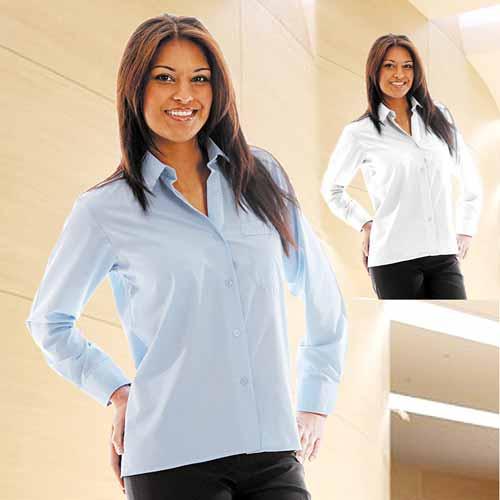 110g 65/35PC Ladies Classic Poplin Shirt Long Sleeve - WBLL09