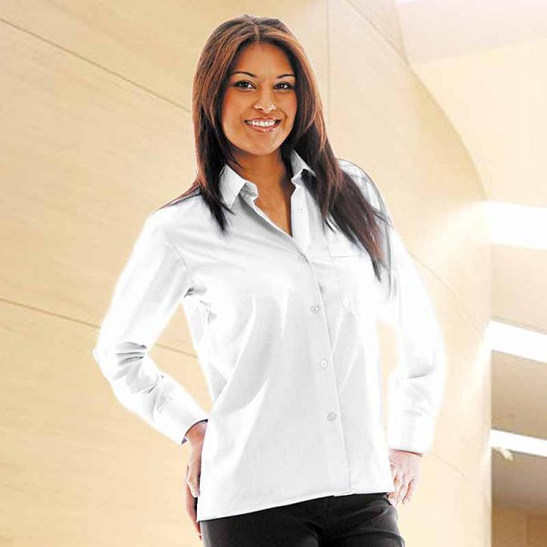 110g 65/35PC Ladies Classic Poplin Shirt Long Sleeve - WBLL09-white