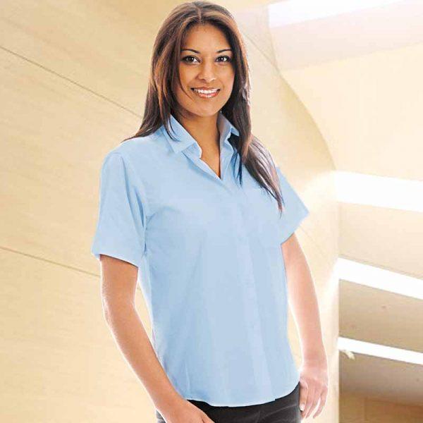 110gsm Ladies Classic Poplin Shirt Short Sleeve - WBLL10-white
