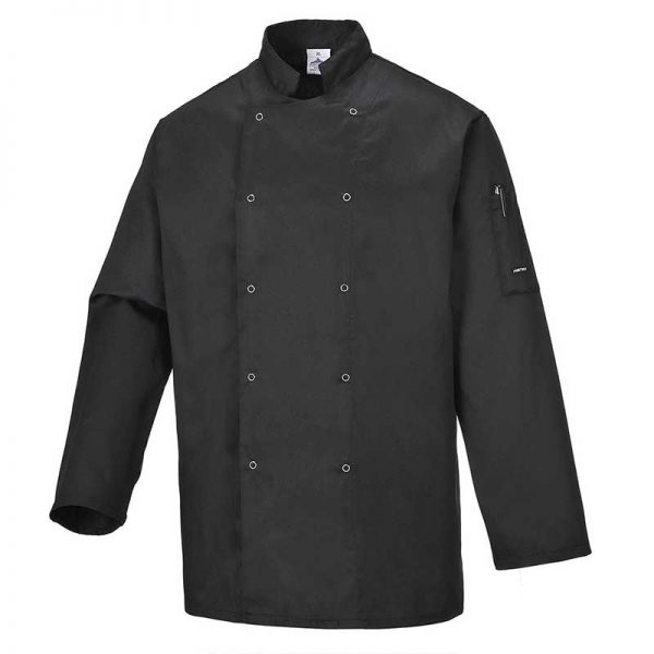 190g 65/35 PC Suffolk Chefs Jacket - WCJA833-black