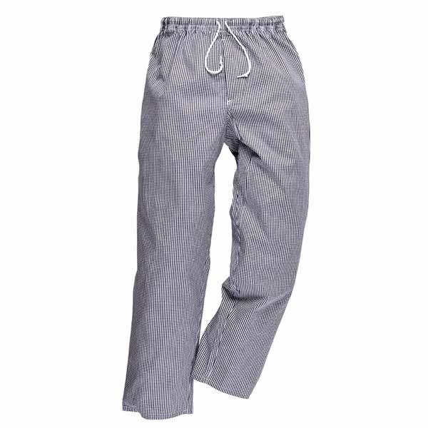 190g 100% Cotton 'Bromley' Regular Length Chefs Trousers - WCTRA079 - blue-white
