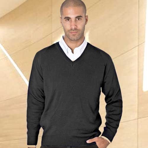 50/50 Cotton-mix V-Neck Fully Fashioned Pullover - WJUA05-black