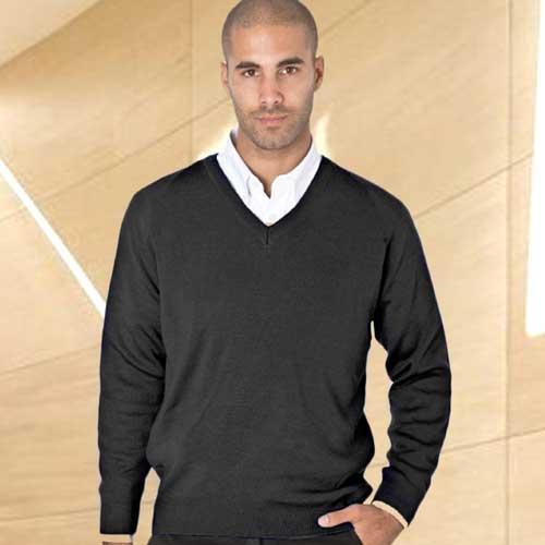 50/50 Cotton-mix V-Neck Fully Fashioned Pullover - WJUA05-black