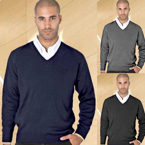 50/50 Cotton-mix V-Neck Fully Fashioned Pullover - WJUA05-main