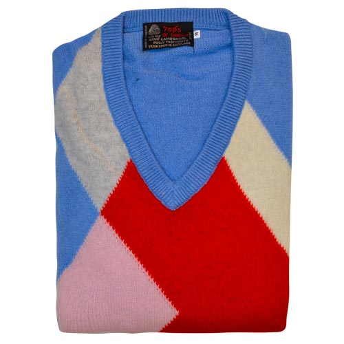 'Tops Of Scotland' Jumper Vneck Long Sleeves-WJUV21-pink-sky