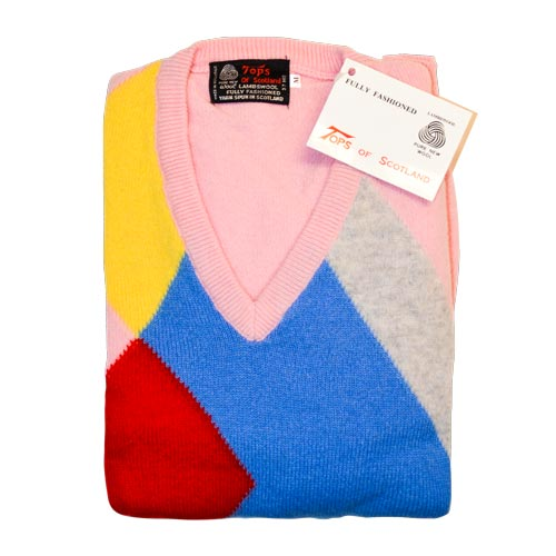 'Tops Of Scotland' Jumper Vneck Long Sleeves-WJUV21-pink