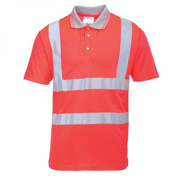 175gsm 100 Polyester Hi-Vis Short Sleeved Polo Shirt - WPOA477-red