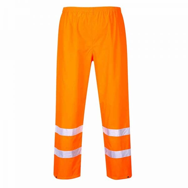 190gsm 100% Polyester Hi-Vis Traffic Waterproof Trouser - WTRA480-orange
