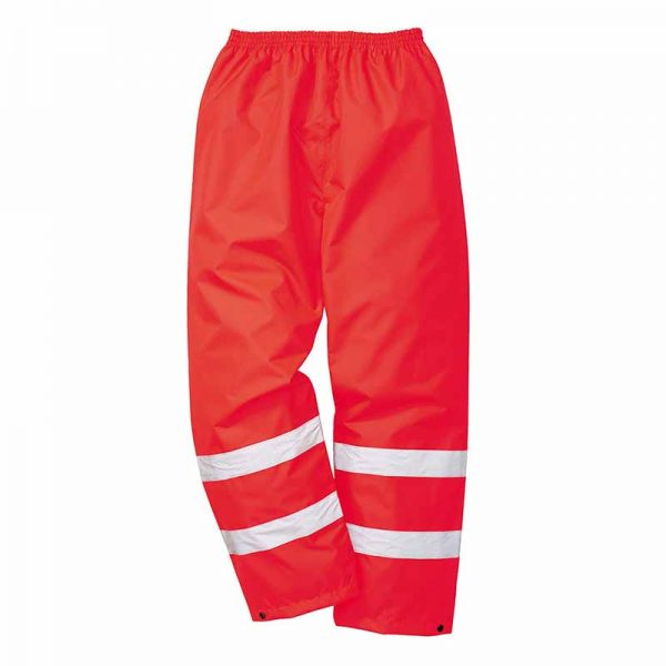 190gsm 100% Polyester Hi-Vis Traffic Waterproof Trouser - WTRA480-red