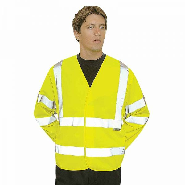 125g 100% Polyester Hi-Vis Long Sleeve Vest - WWCLA473-yellow2