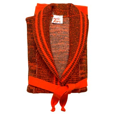 100% Acrylic Cardigan Wrap Over Roll Collar Long Sleeve with Belt - VCAA87-orange