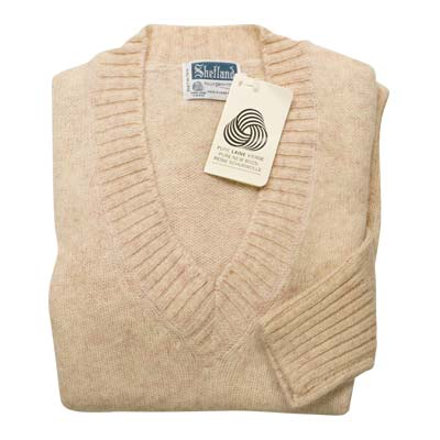100% Shetland Wool Jumper Ladies V-Neck Long Sleeve Fully Fashion Pure New Wool VJUA08-cream