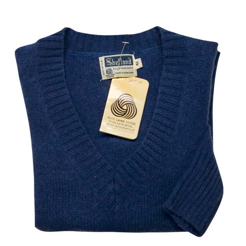 100% Shetland Wool Jumper Ladies V-Neck Long Sleeve Fully Fashion Pure New Wool VJUA08-denim-blue