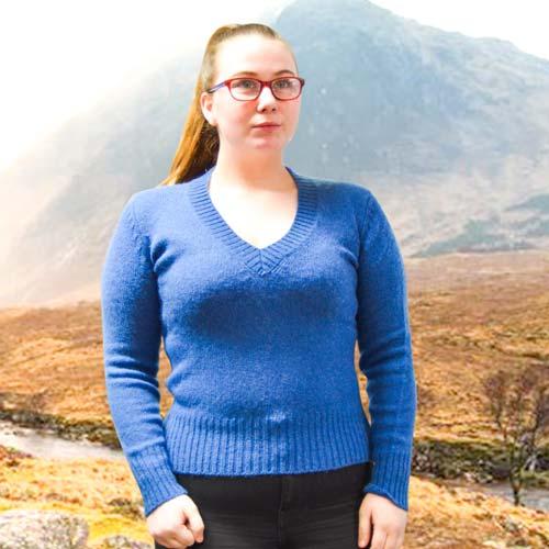100% Shetland Wool Jumper Ladies V-Neck Long Sleeve Fully Fashion Pure New Wool VJUA08