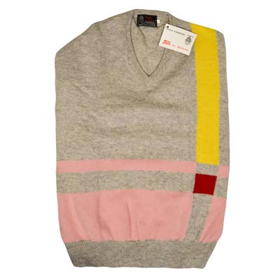 'Tops Of Scotland' Jumper Vneck Strip Long Sleeves VJUA09-grey