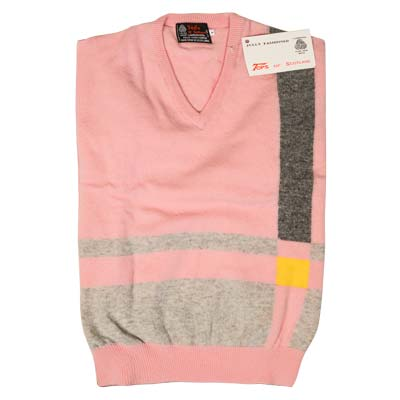'Tops Of Scotland' Jumper Vneck Strip Long Sleeves VJUA09-pink