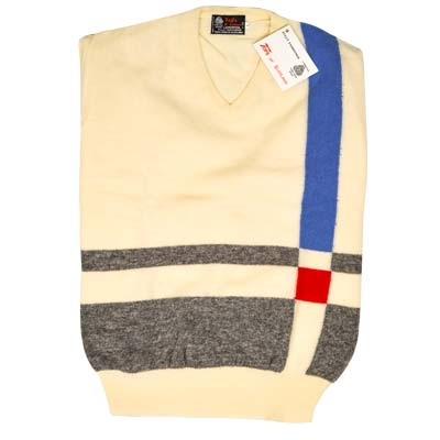 'Tops Of Scotland' Jumper Vneck Strip Long Sleeves VJUA09-cream