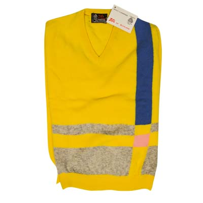 'Tops Of Scotland' Jumper Vneck Strip Long Sleeves VJUA09-yellow