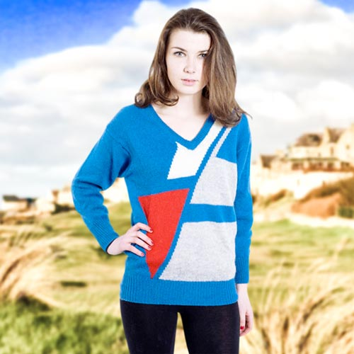 100% Shetland Wool Jumper V-Neck Intarsia Long Sleeve Fully Fashion Pure New Wool - VJUA11