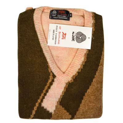 'Tops Of Scotland' Jumper V-neck Long Sleeve Pure New Wool VJUA12-cream-brown