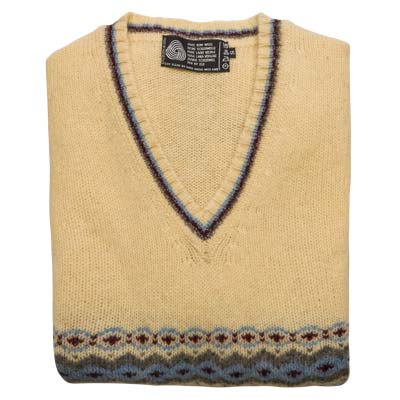 'Tops Of Scotland' Shetland Wool Jumper VJUA13-brown-blue
