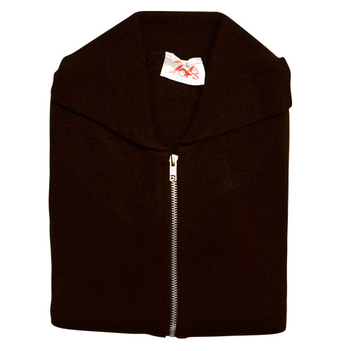 Jumper with Front Zip and Collar VJUA16-brown