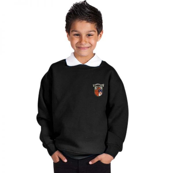 300g 70/30 CP Kids Premium Hi-Spec Set-In Bell Baxter Crew Sweatshirt - TSK01-sweat-black
