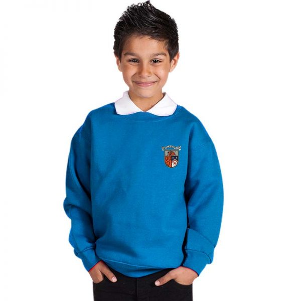 300g 70/30 CP Kids Premium Hi-Spec Set-In Bell Baxter Crew Sweatshirt - TSK01-sweat-electric-blue