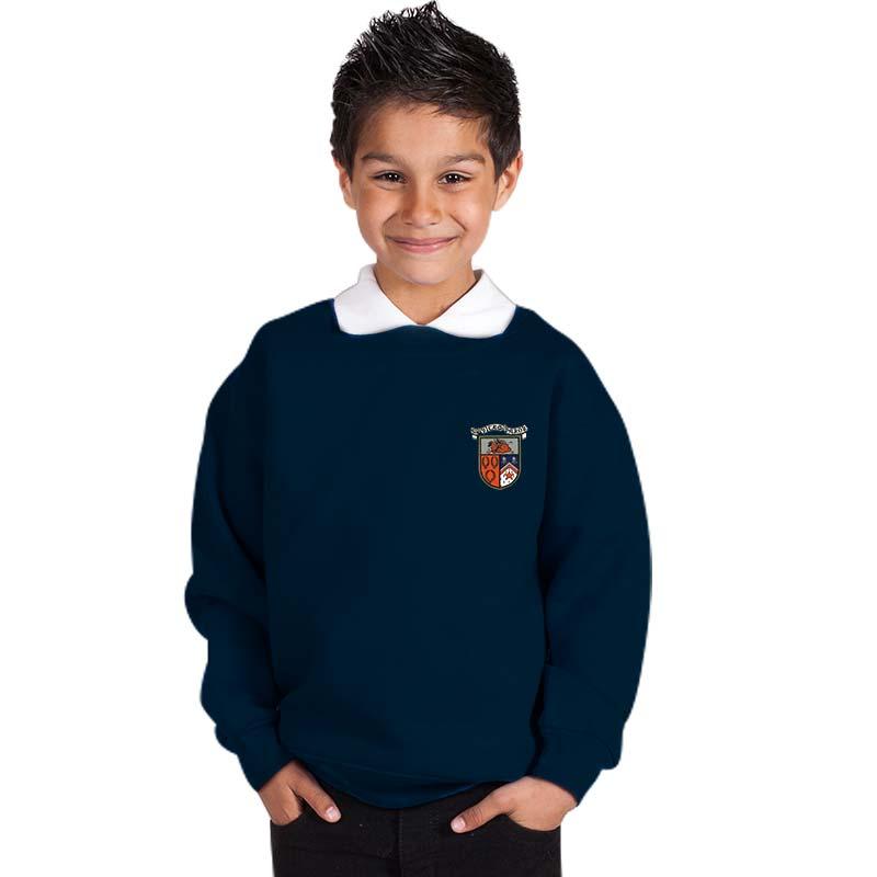 300g 70/30 CP Kids Premium Hi-Spec Set-In Bell Baxter Crew Sweatshirt - SK01-sweat-navy