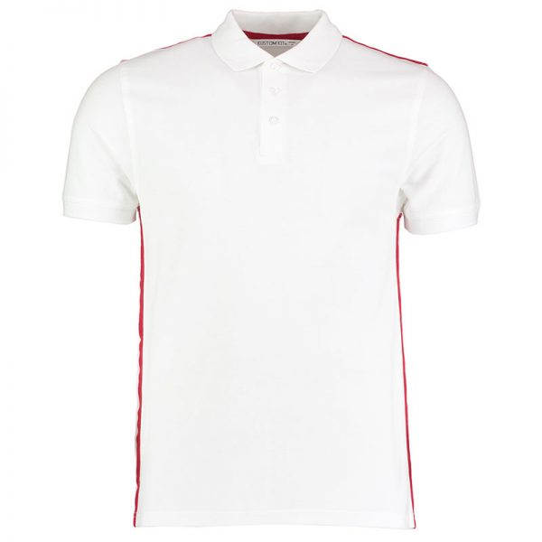 210gsm 100% Cotton Slim Fit Team Style Bowls Polo - KK603BOWLS-white-red