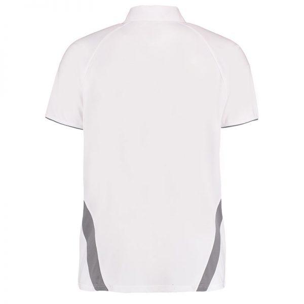 140gsm 100% Polyester Riviera Contrast Raglan Bowling Polo - KK974BOWLS-white-grey-back