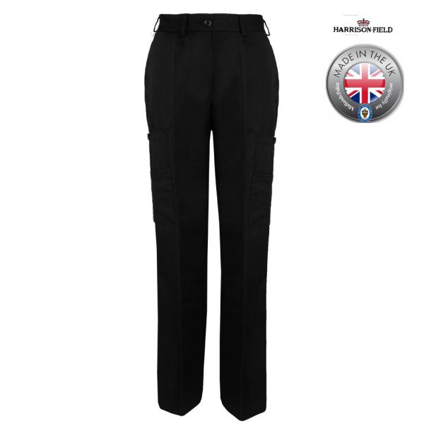 Ladies Police Poly-Cotton Trousers Black with thigh pockets - WTRPA54