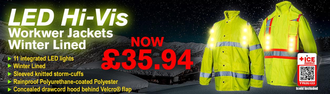 LED Hi-Vis Winter Line Workwear Parka Jackets with IceId