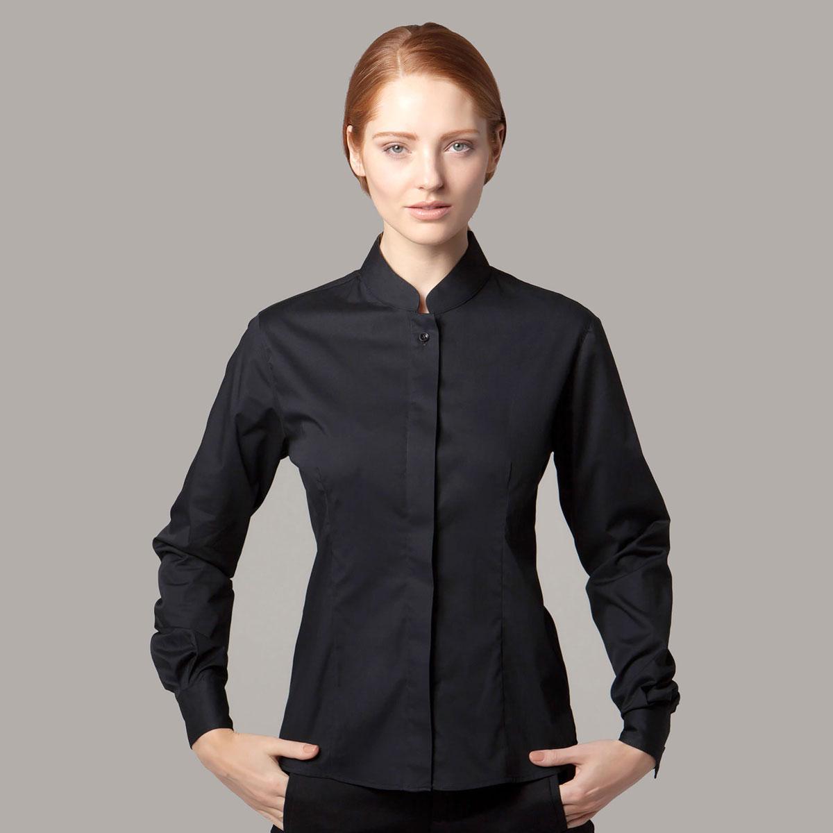 Ladies Mandarin Collar Bar Shirt Long Sleeve - KK740