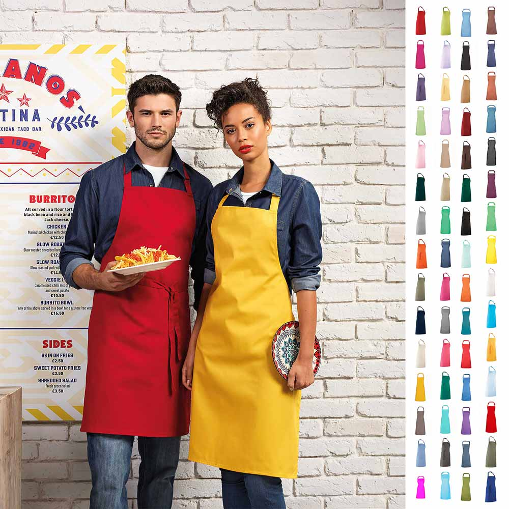 Colours Collection Bib Apron - PR150_RED_MUSTARD2model