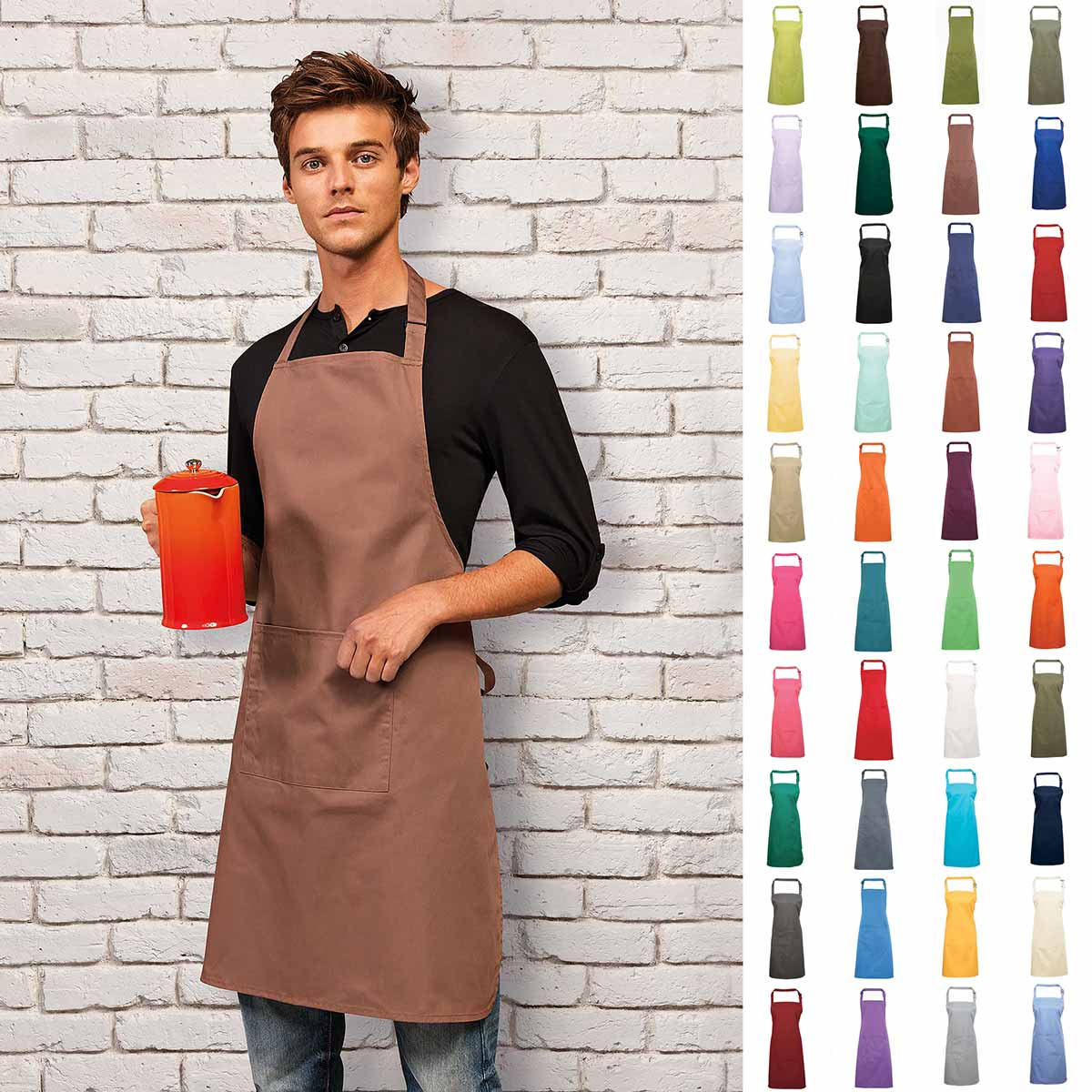 Colours Bib Apron with Pocket - PR154_MOCHA-model