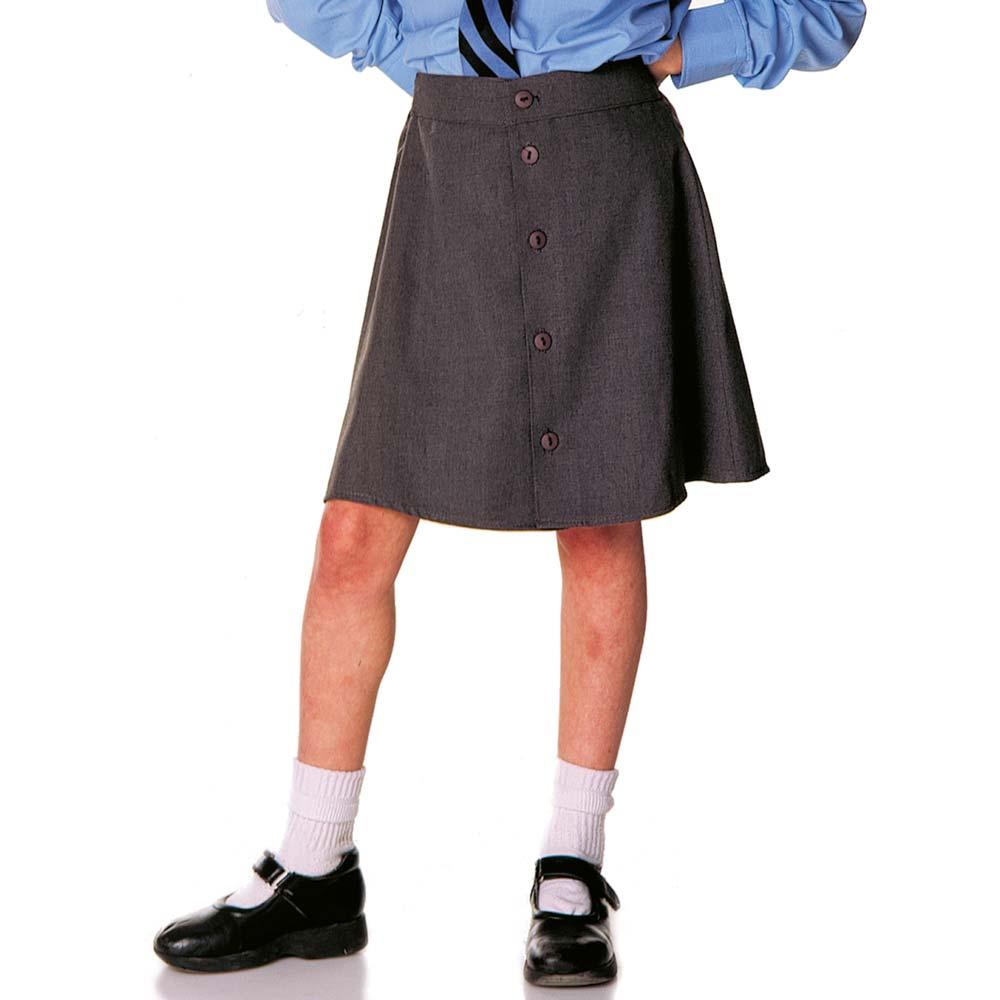 Girls School Skirt Button Front - CSKG03